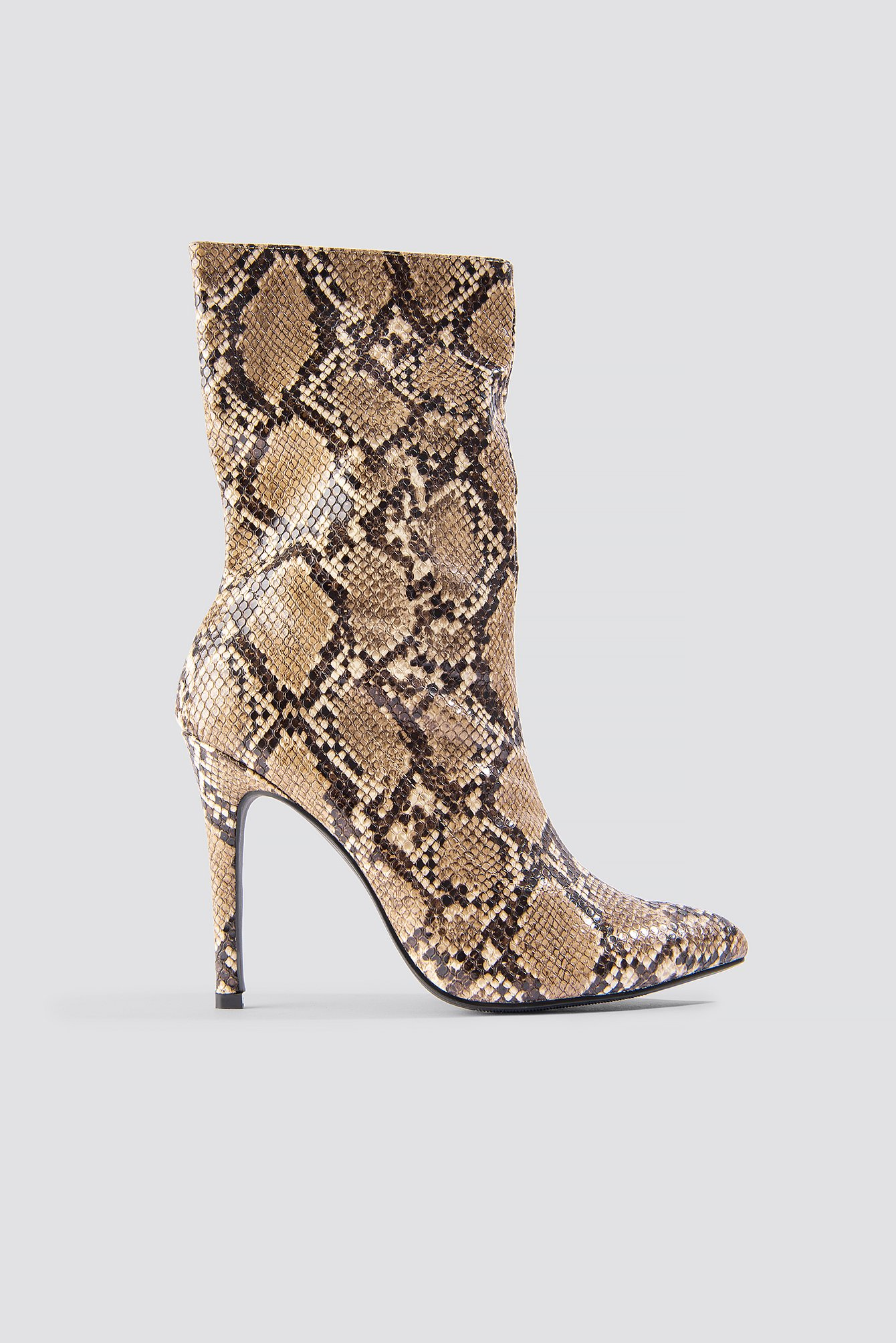 na-kd shoes -  High Heel Snake PU Stiletto Boot - Brown,Multicolor