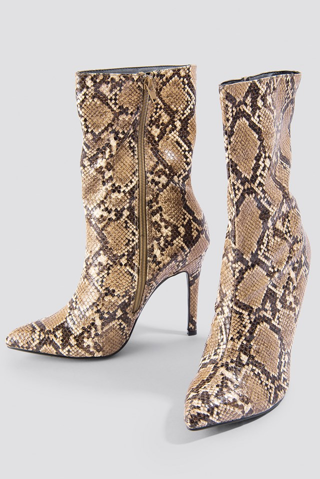 High Heel Snake PU Stiletto Boot Snake