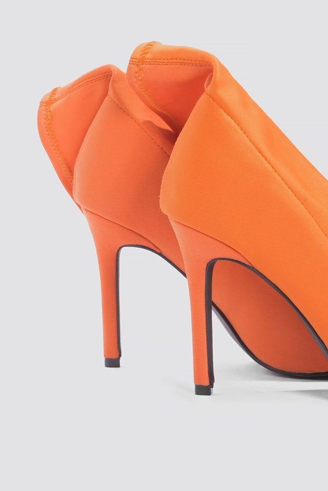 High Heel Sock Boot Orange