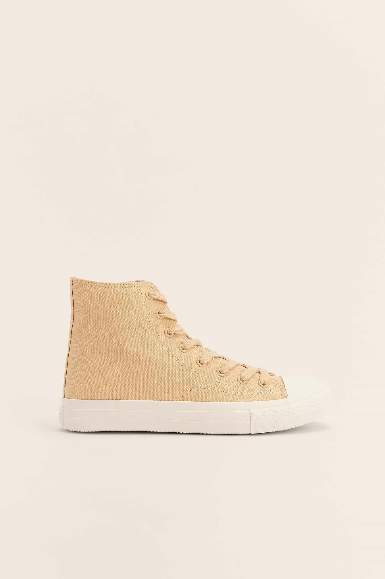 NA-KD Shoes Sneakers Med Snørebånd Og Høj Ankel - Beige