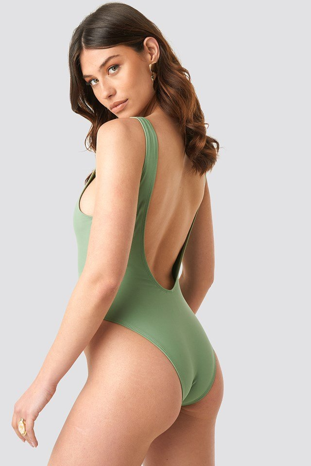 High Leg Swimsuit Pale Khaki