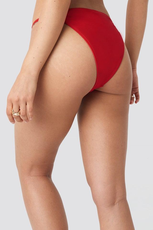 High Leg Thin Strap Bikini Briefs Red