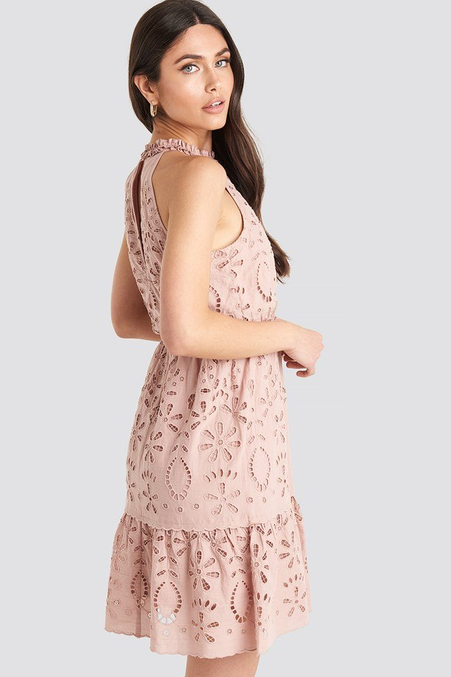 High Neck Anglaise Dress Dusty Pink