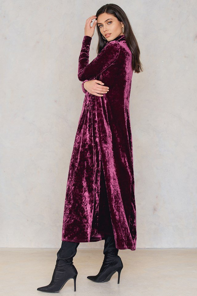 Velvet High Neck Ankle Dress Dark Purple Rose
