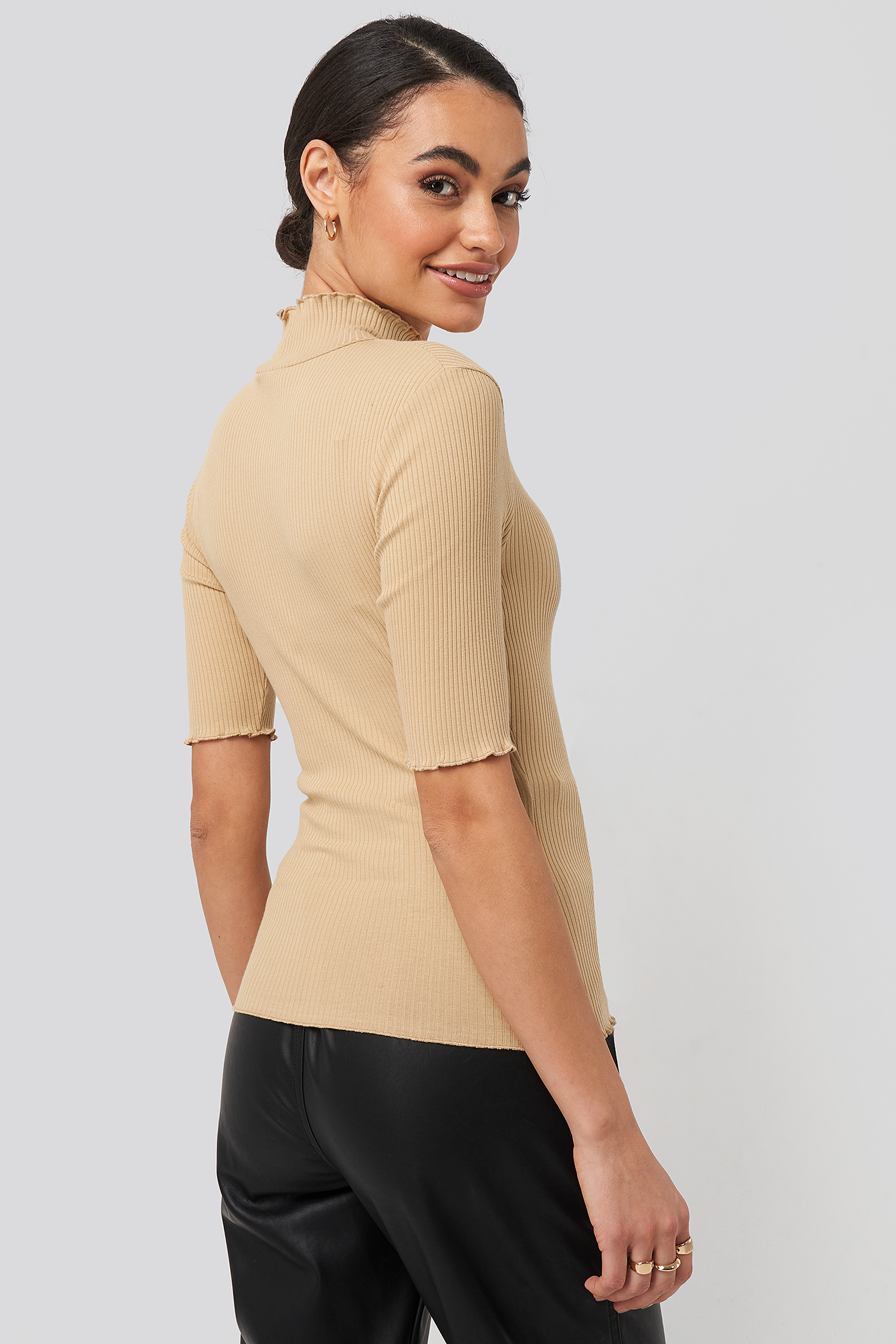 Light Beige High Neck Babylock Top
