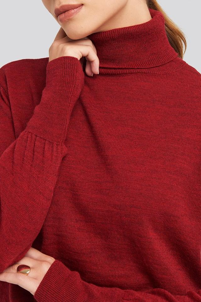 High Neck Balloon Sleeve Sweater Burgundy
