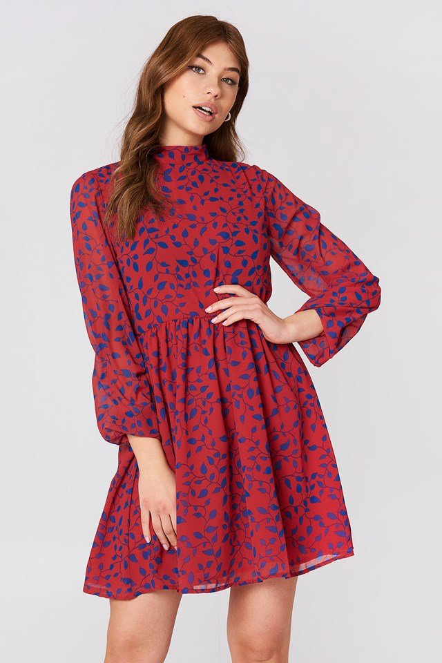 High Neck Balloon Sleeve Dress Red/Blue Leaves