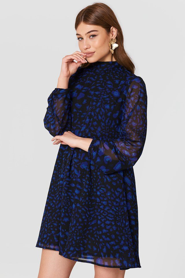 High Neck Balloon Sleeve Dress Blue Leo Print
