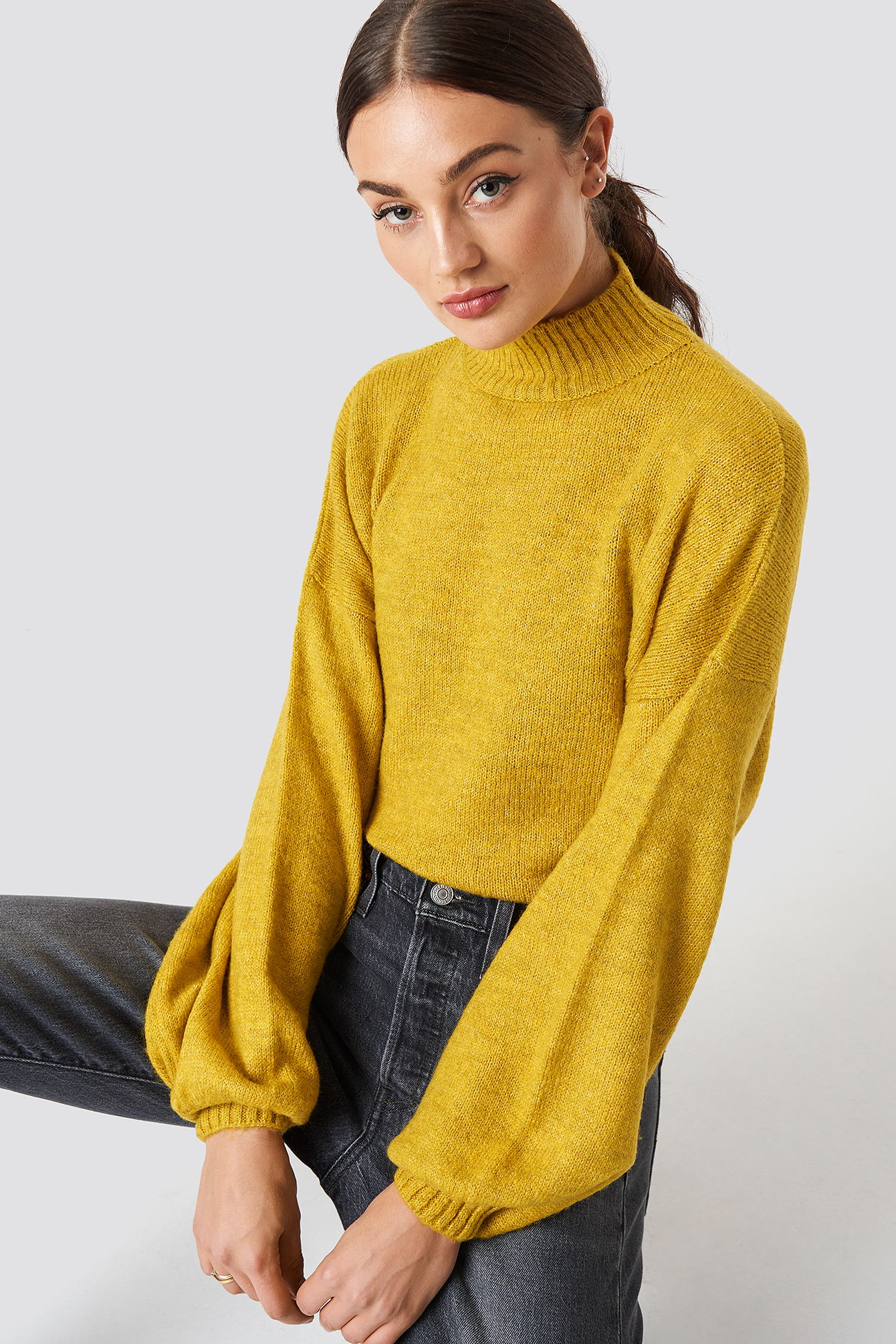 High Neck Balloon Sleeve Knitted Sweater NA-KD.COM