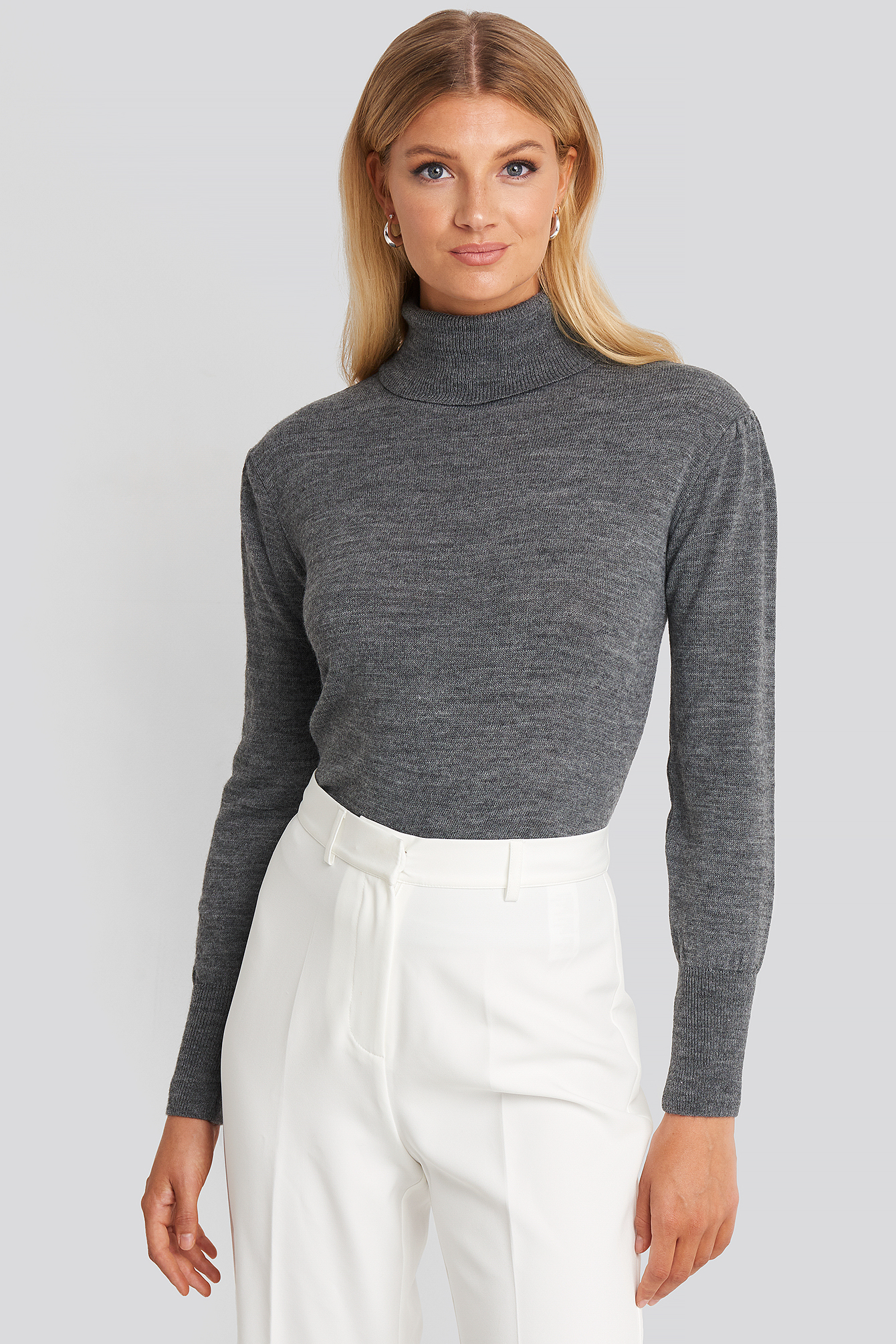 na-kd -  High Neck Balloon Sleeve Sweater - Grey