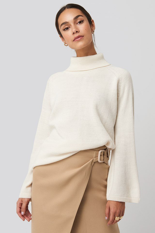 High Neck Wide Sleeve Sweater NA-KD Trend