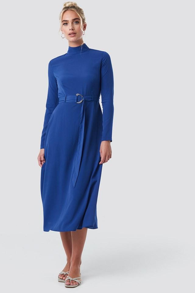High Neck Belted Maxi Dress Blue