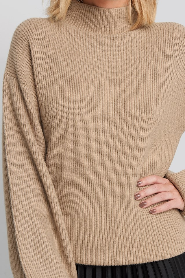 High Neck Big Sleeve Knitted Sweater Beige