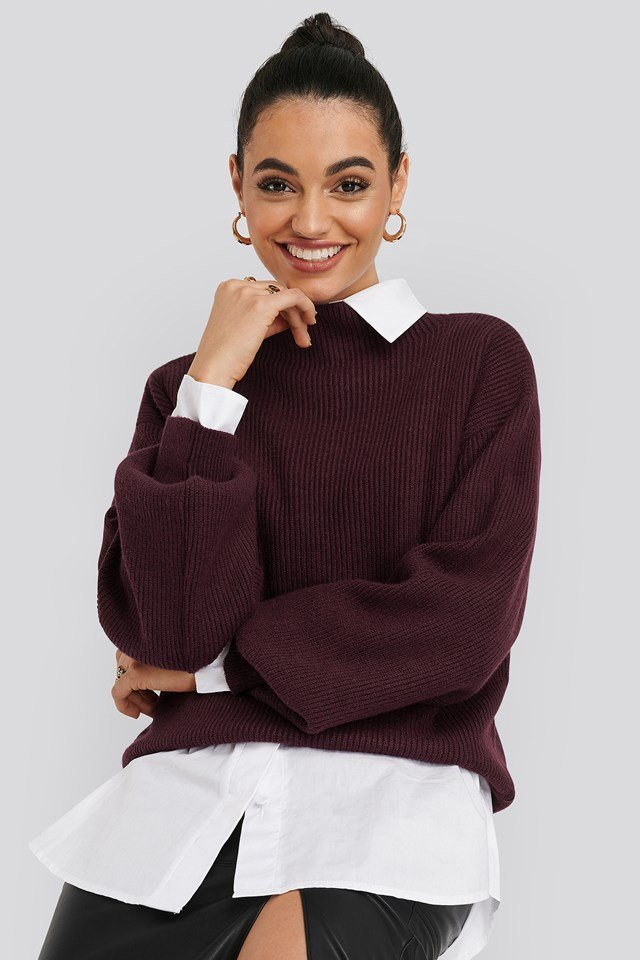 High Neck Big Sleeve Knitted Sweater Burgundy