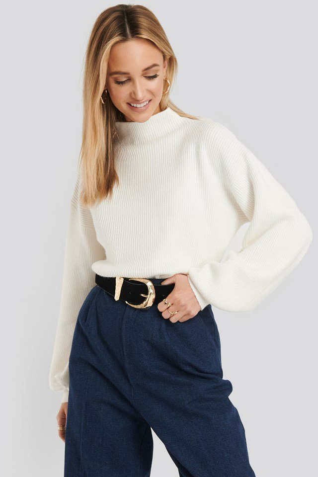 High Neck Big Sleeve Knitted Sweater Offwhite