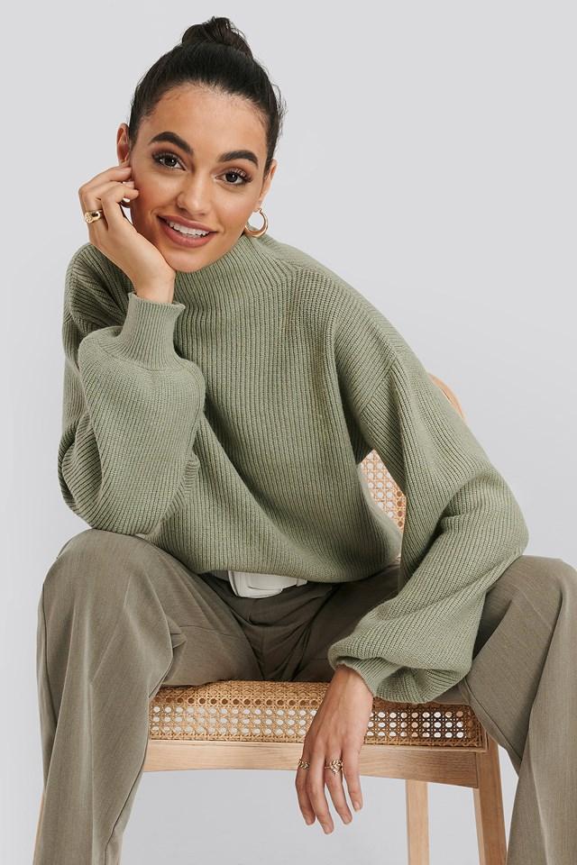 High Neck Big Sleeve Knitted Sweater Light Khaki