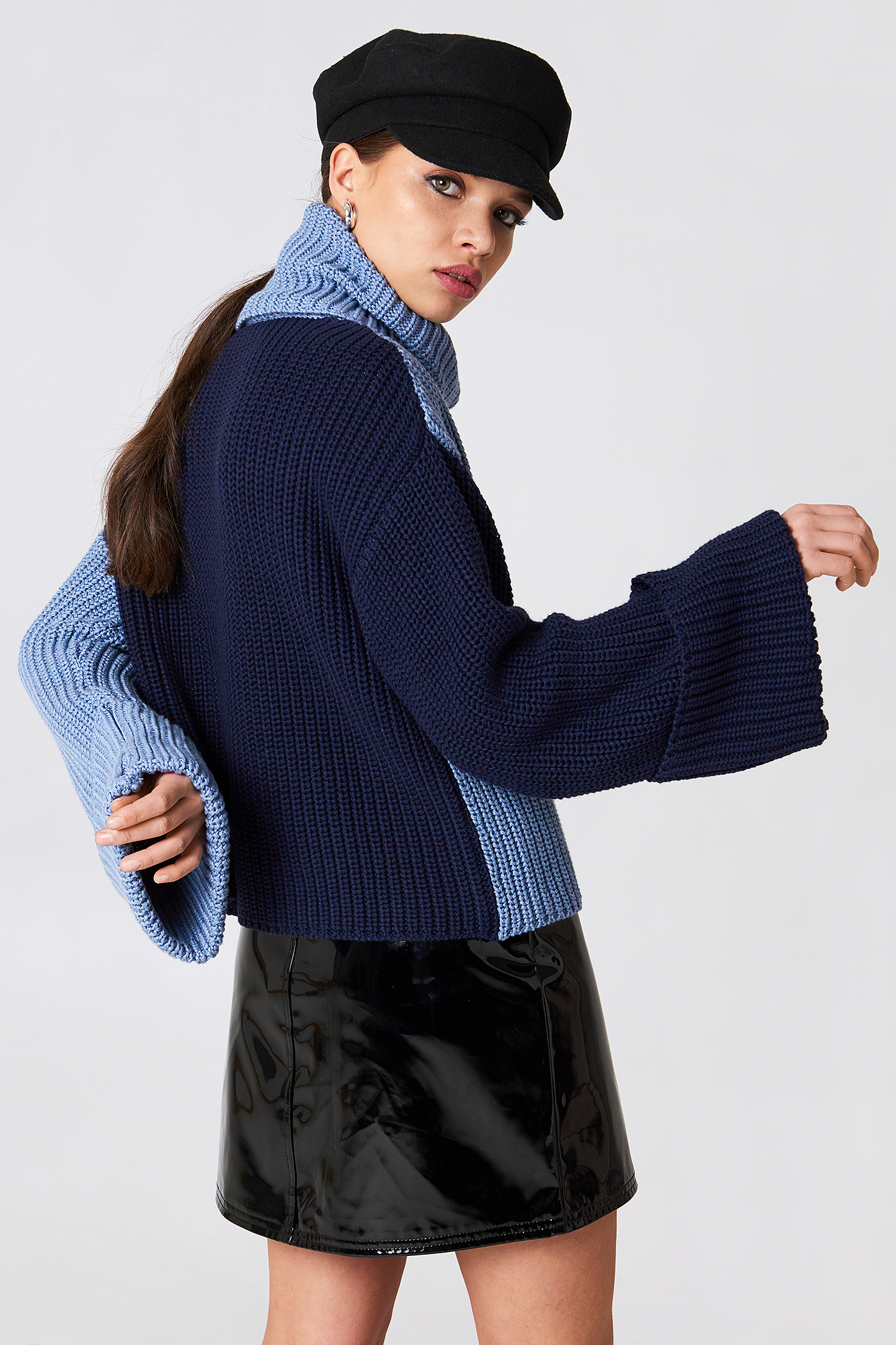 High Neck Blocked Knitted Sweater NA-KD.COM