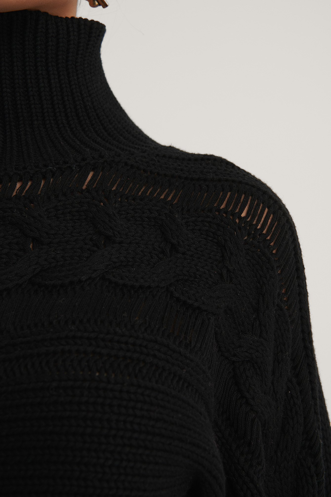Black High Neck Cable Detail Knitted Sweater