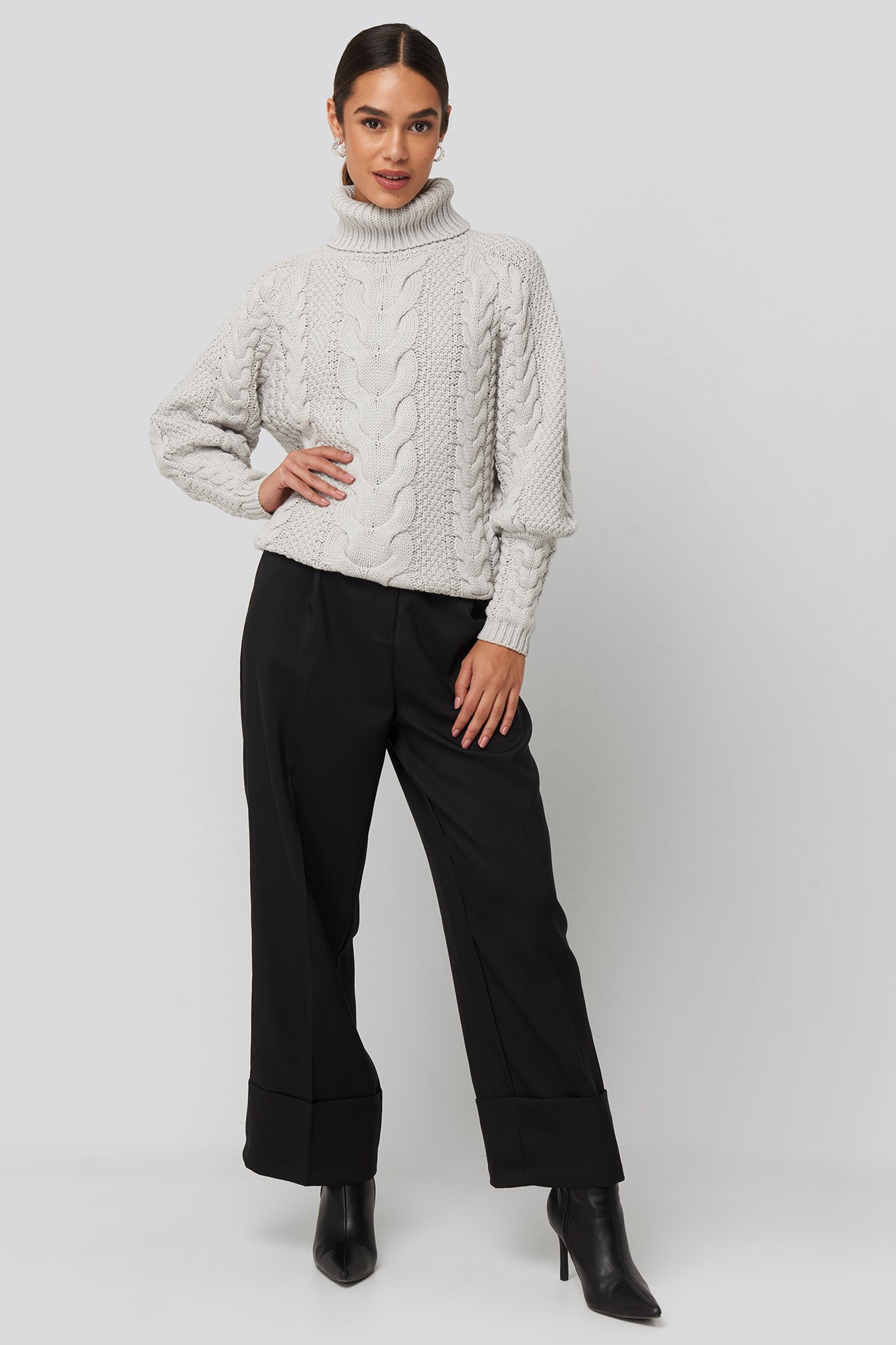 Grey High Neck Cable Knitted Ribbed Sleeve Sweater