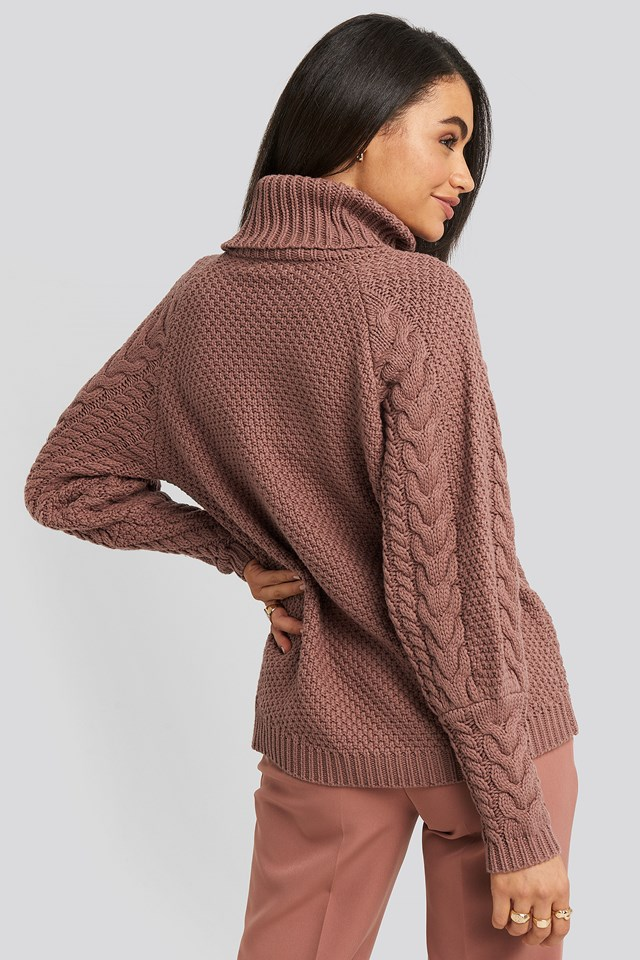 High Neck Cable Knitted Ribbed Sleeve Sweater Dusty Dark Pink