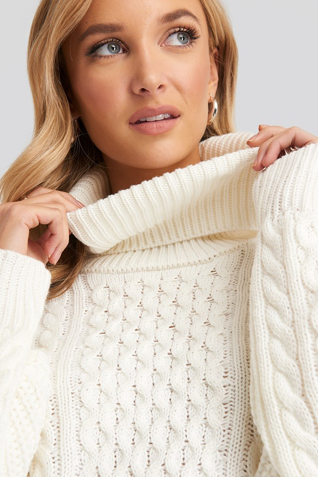 High Neck Cable Knitted Sweater Offwhite