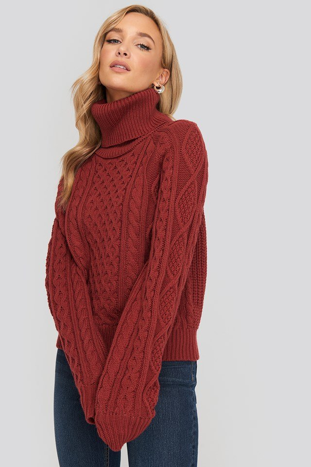 High Neck Cable Knitted Sweater Washed Red