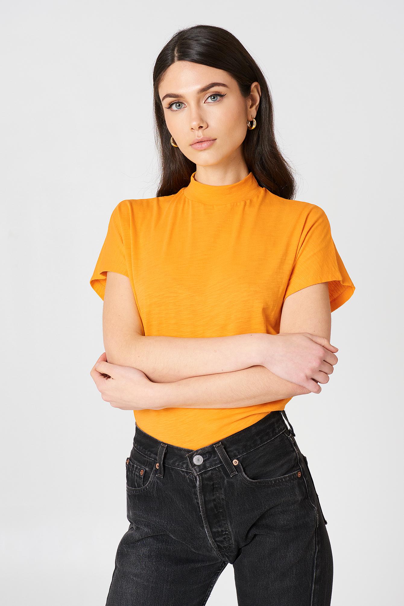 High Neck Cap Sleeve Top Orange   na-kd.com