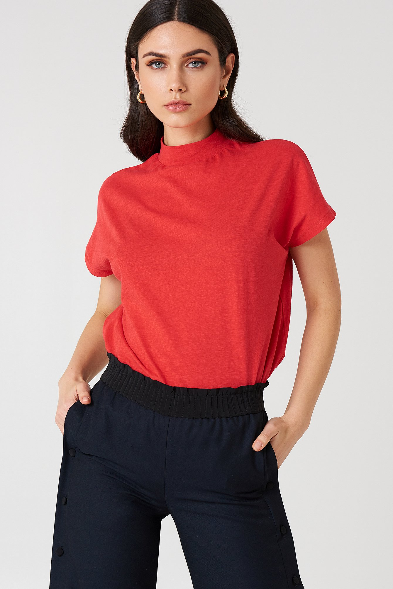 High Neck Cap Sleeve Top Bright Red