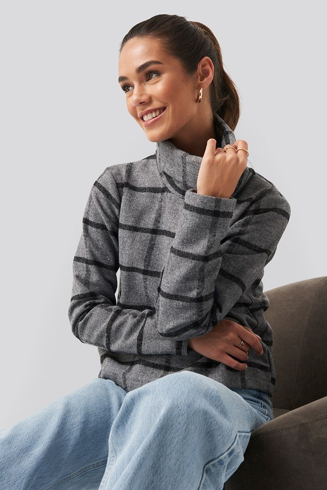 High Neck Checked Sweat Grey Check