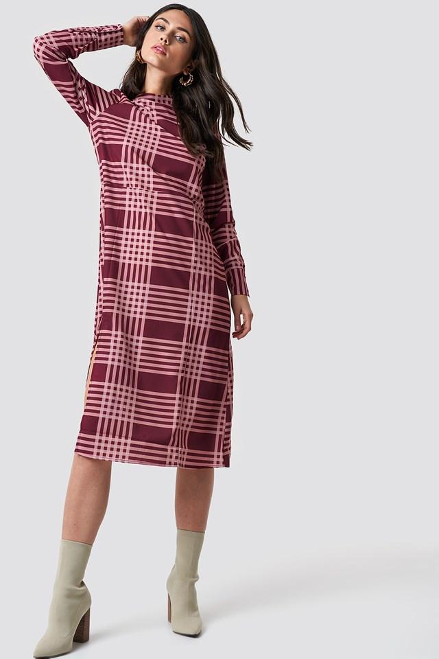 High Neck Cut Line Midi Dress Burgundy/Pink Checks