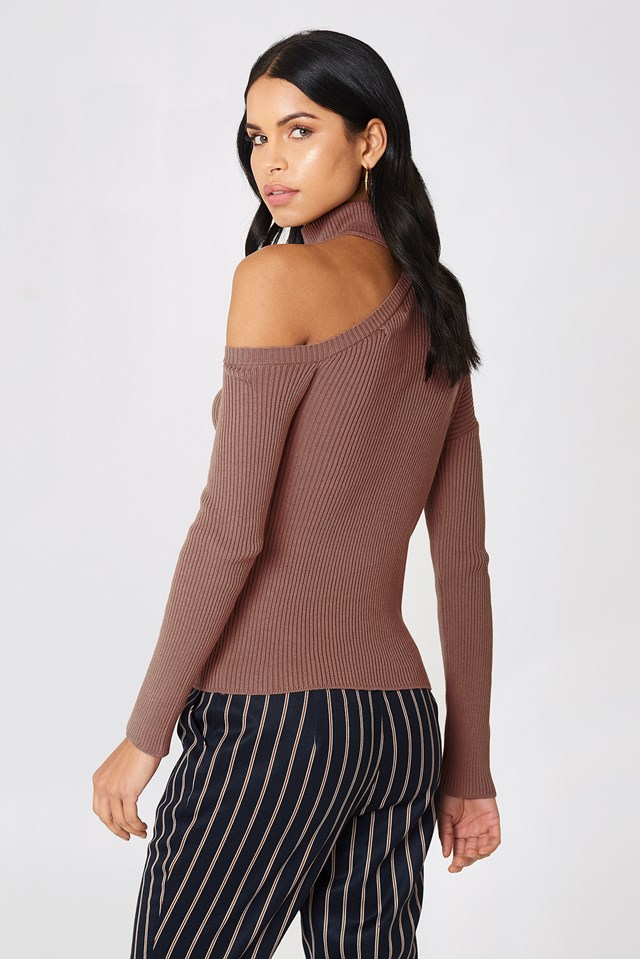 High Neck Cut Out Shoulder Sweater NA-KD.COM
