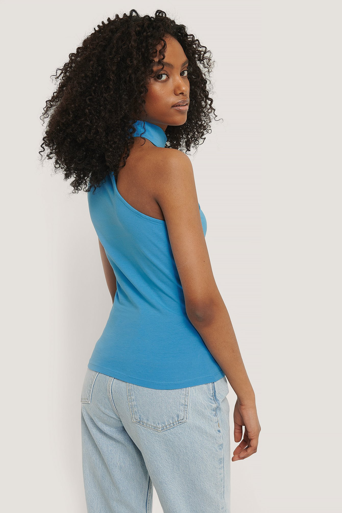 Blue High Neck Cut Out Top
