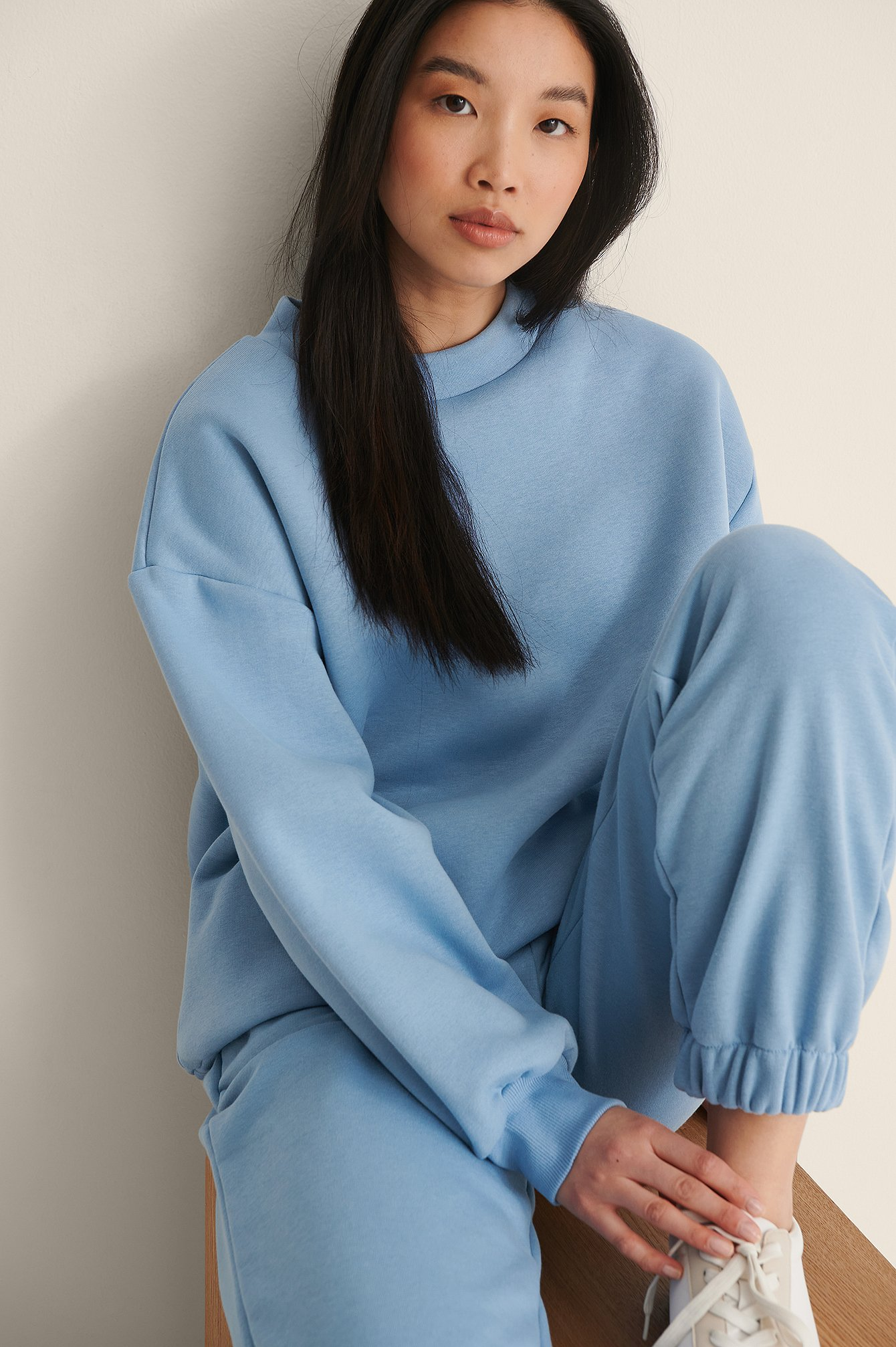 Light Blue Organic High Neck Detail Sweatshirt