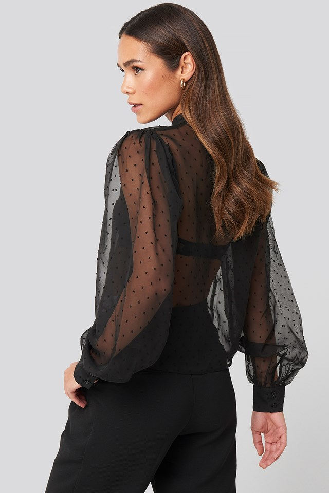 High Neck Dobby Blouse Black