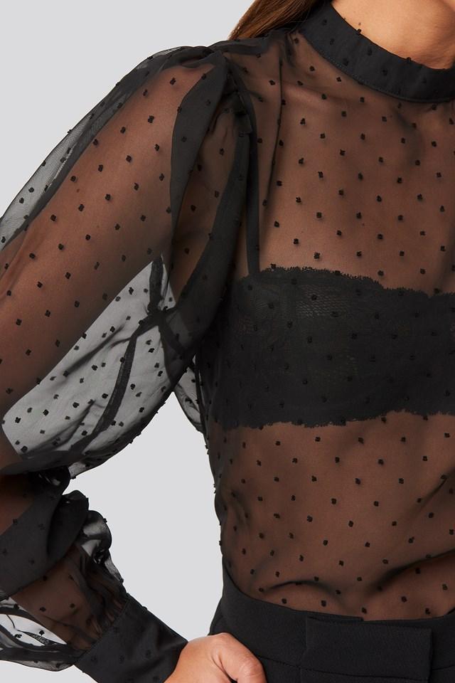 High Neck Dobby Blouse Black