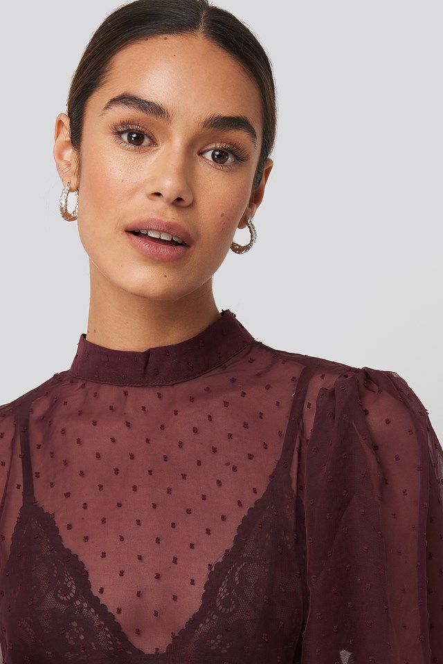 High Neck Dobby Blouse Burgundy