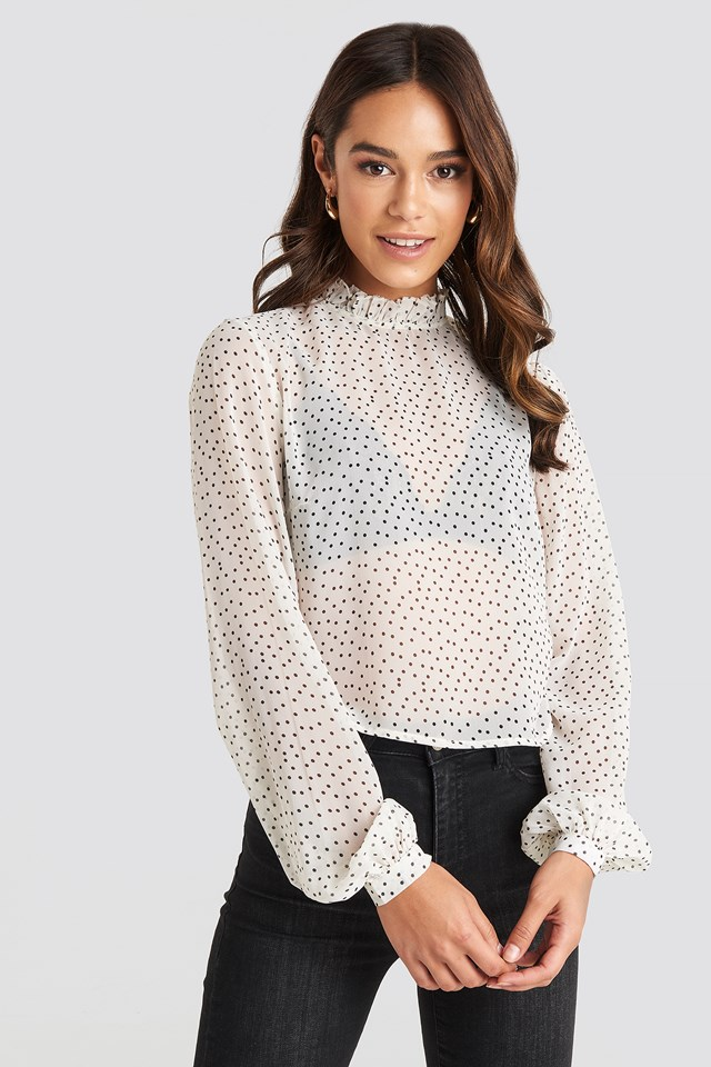High Neck Dotted Blouse NA-KD