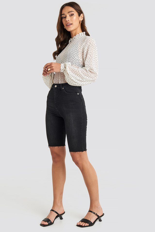 High Neck Dotted Blouse White
