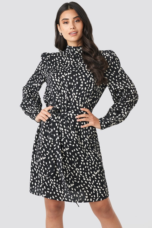 High Neck Dotted Dress Black