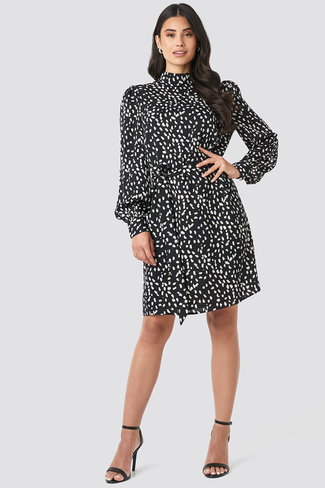 High Neck Dotted Dress Black