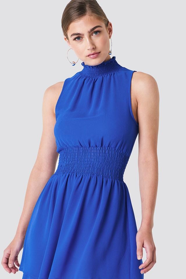 High Neck Double Layer Smock Dress Cobalt
