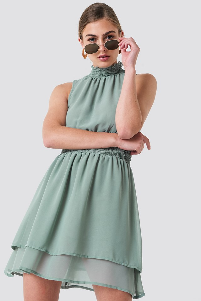 High Neck Double Layer Smock Dress Dusty Green