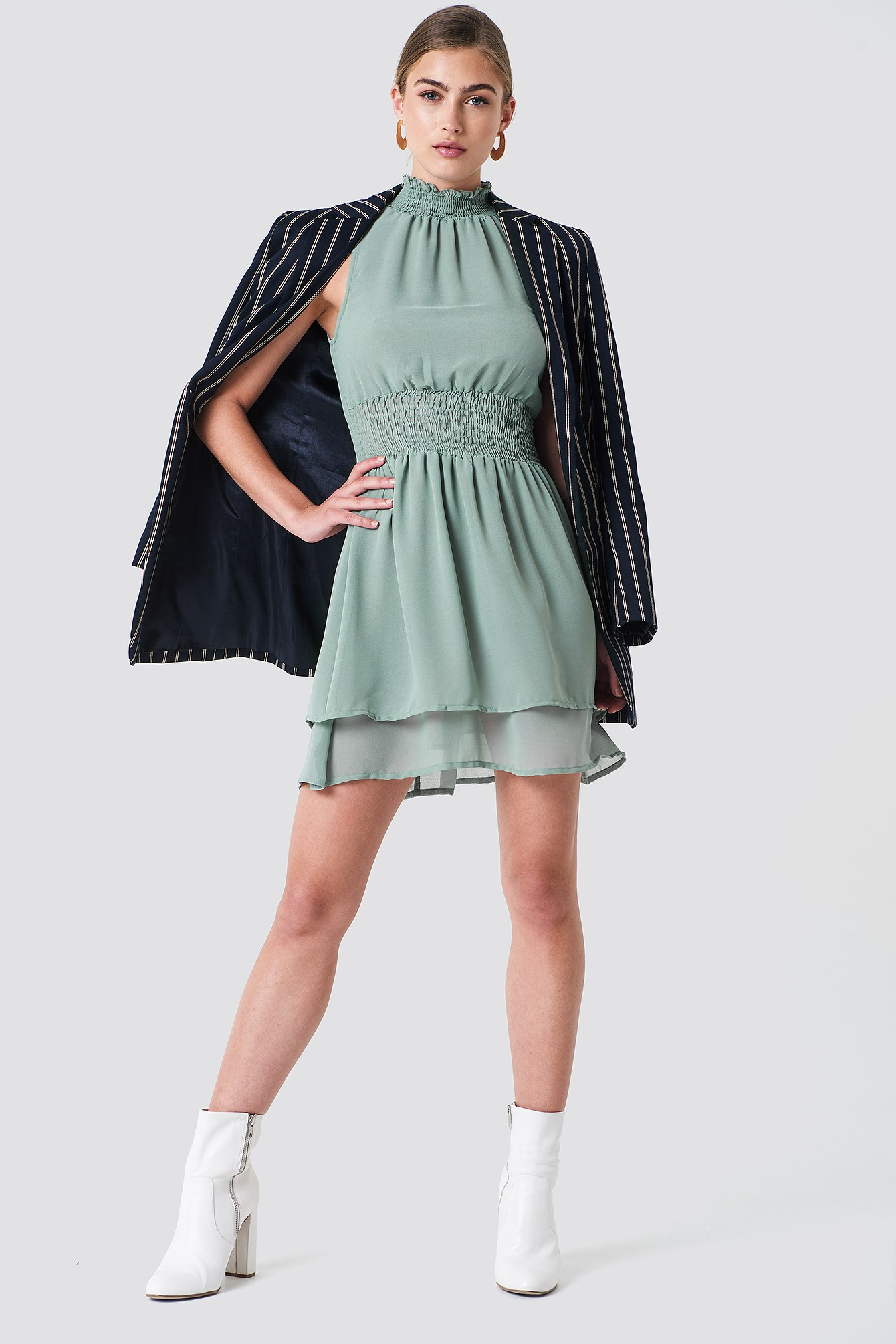 High Neck Double Layer Smock Dress NA-KD.COM
