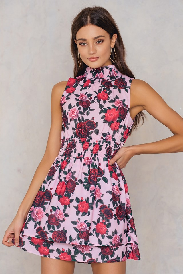High Neck Double Layer Smock Dress Pink Rose Print