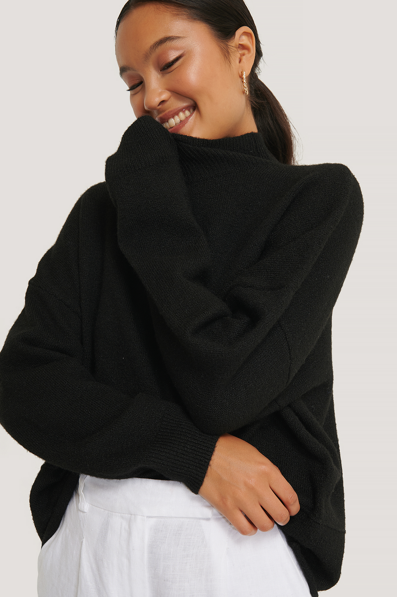 High Neck Dropped Shoulder Knitted Sweater