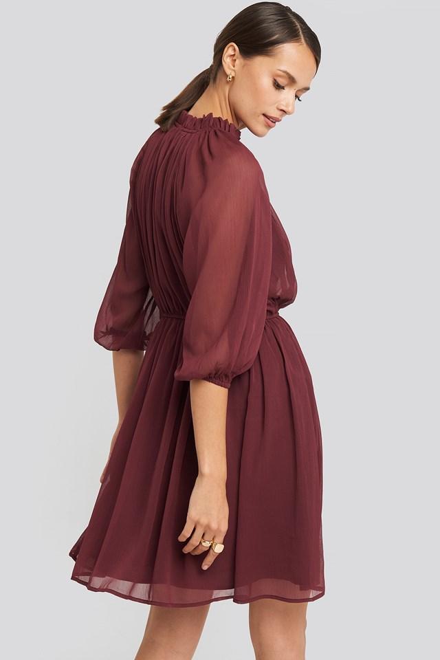 High Neck Elastic Waist Puff Dress Burgundy