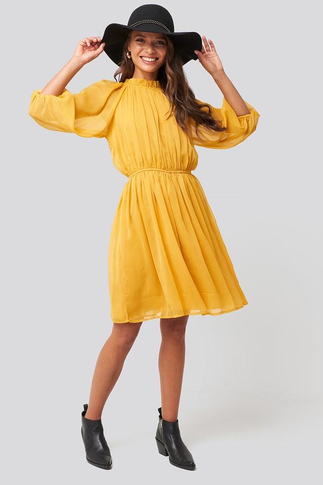 High Neck Elastic Waist Puff Dress Mustard