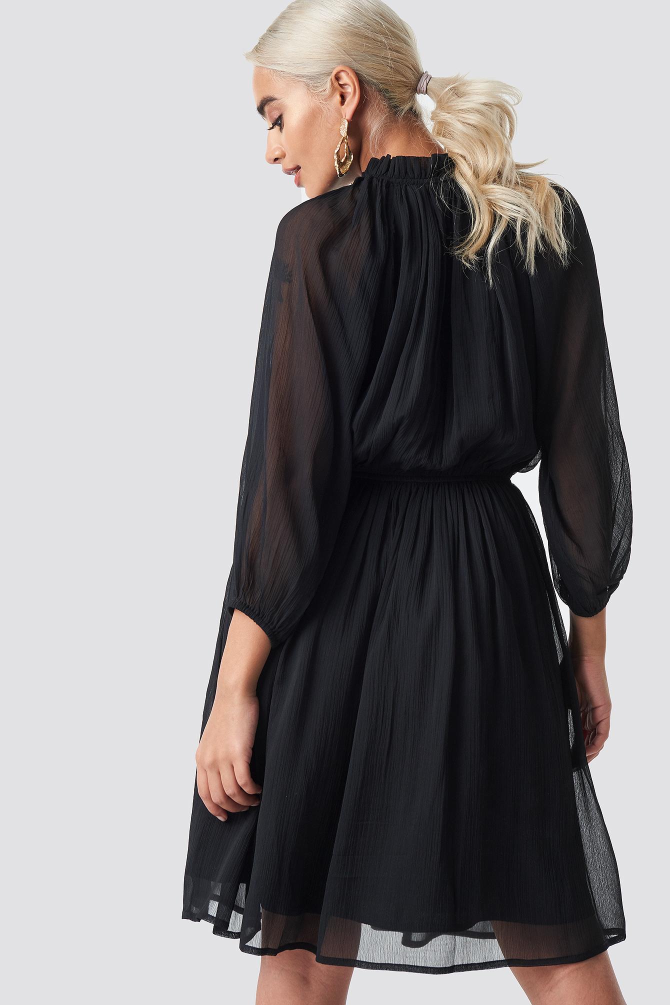High Neck Elastic Waist Puff Dress NA-KD.COM
