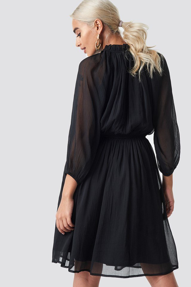 High Neck Elastic Waist Puff Dress Black