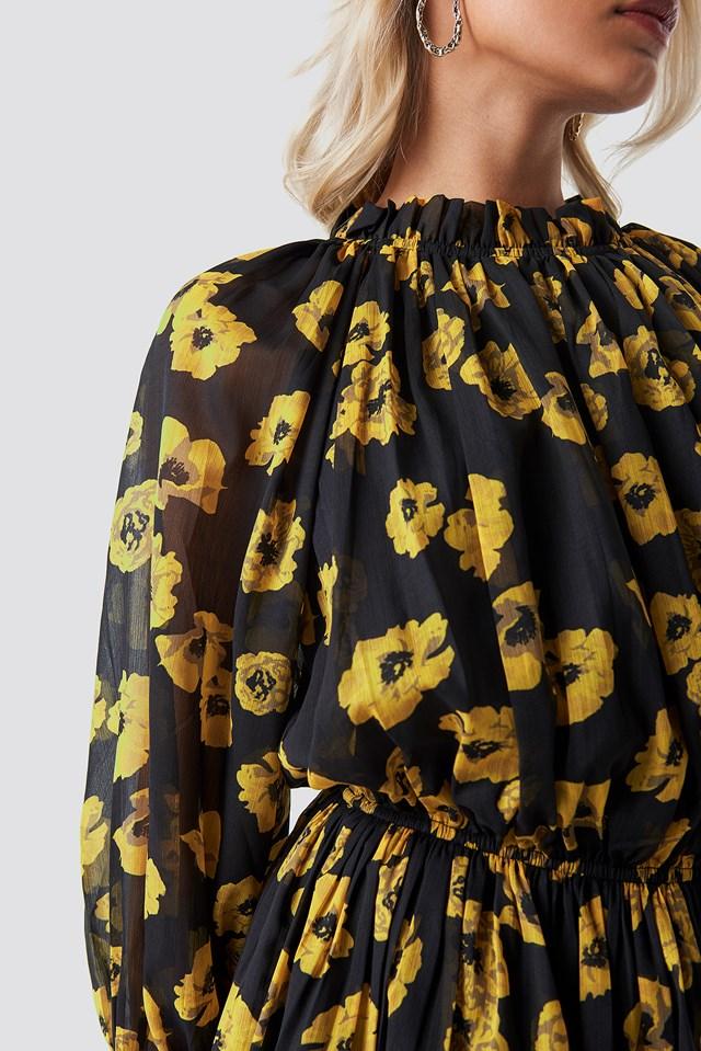 High Neck Elastic Waist Puff Dress Poppy Orange Flowers